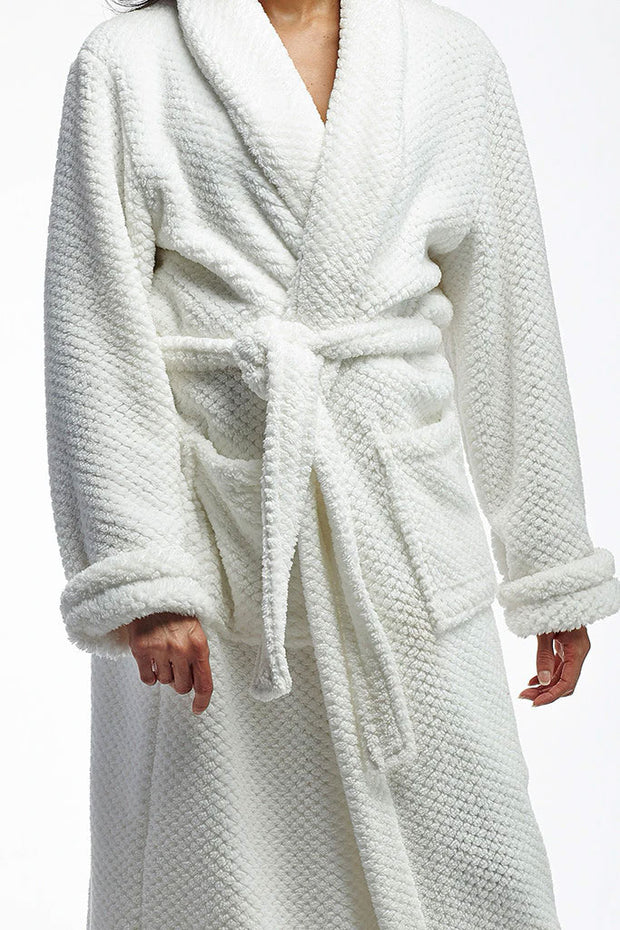La Cera - Fleece Robe in White
