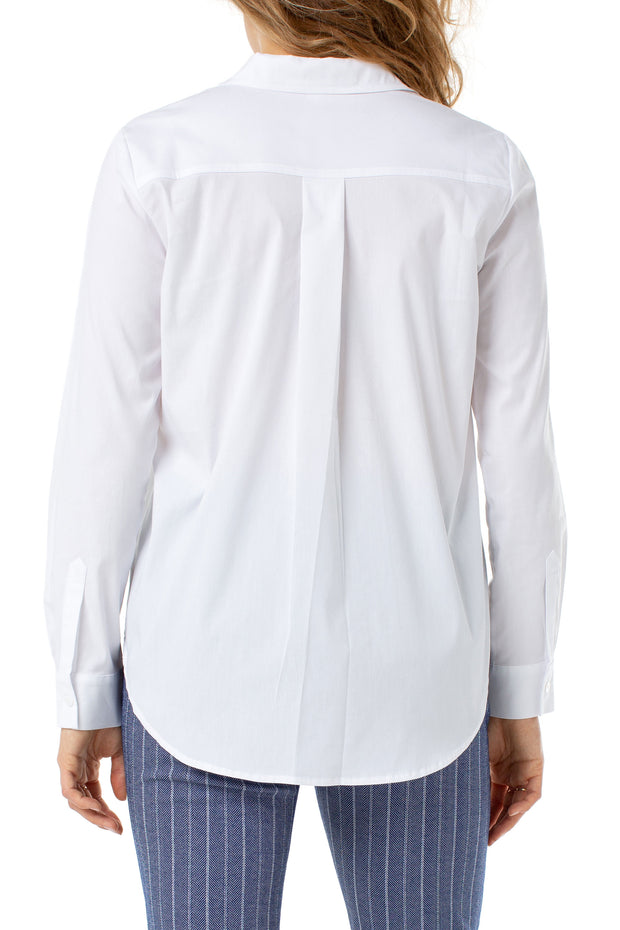 Hidden Placket Shirt in White