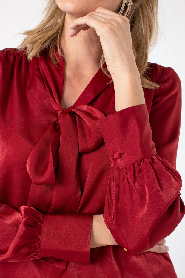 V-neck Blouse with Neck Ties in Autumn Red
