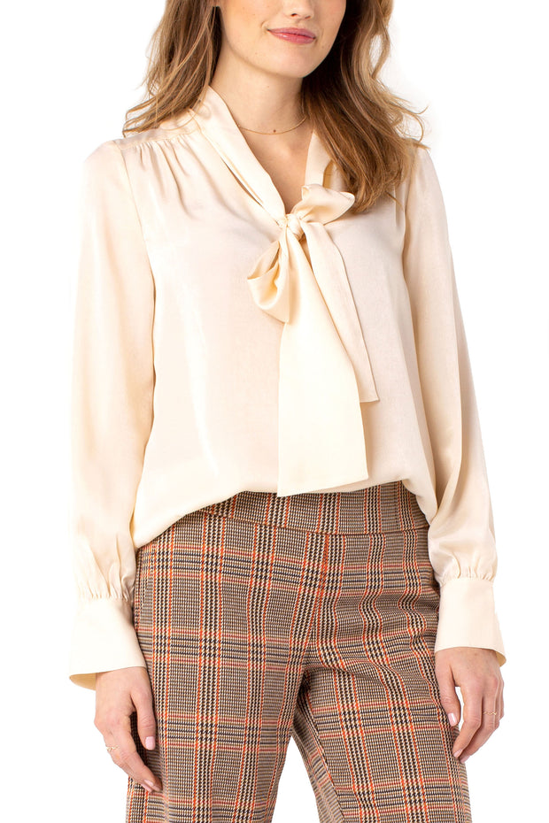 V-neck Blouse with Neck Ties in Sand