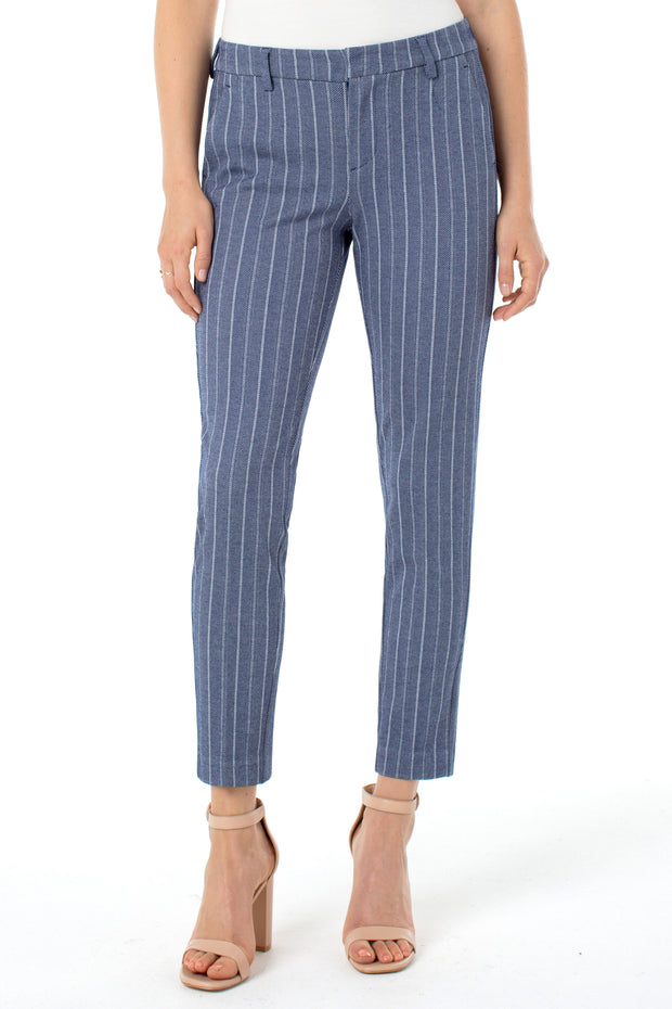 Kelsey Knit Trouser in Blue/white Herringbone