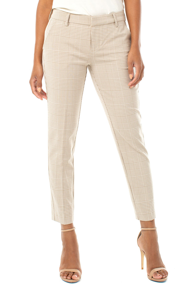 Kelsey Trouser in Tan/white Check