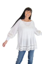 Off-shoulder Blouse with Lace Trims