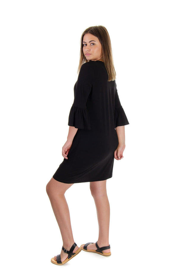 London Times - Bugle Sleeve Dress in Black (T3906)