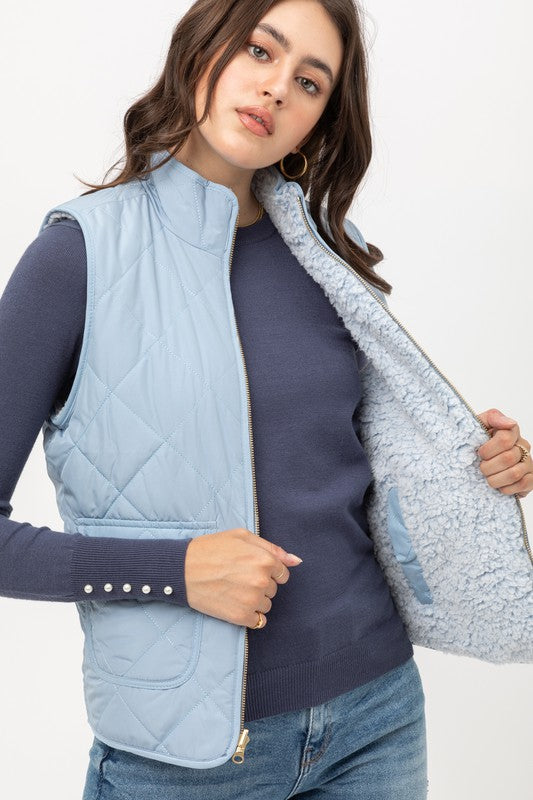 Reversible Quilted Vest in Blue