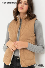 Reversible Quilted Vest in Camel