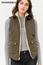 Reversible Quilted Vest in Olive