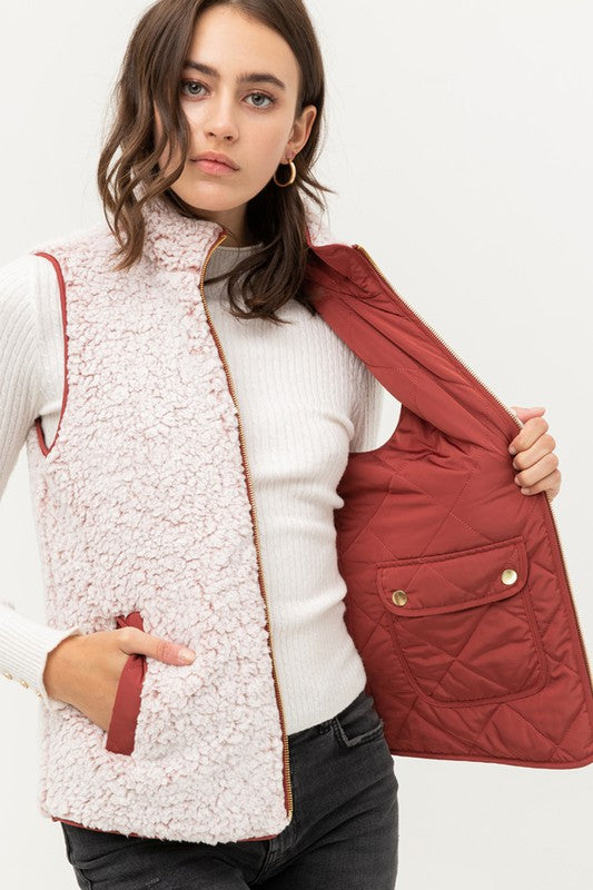 Reversible Quilted Vest in Rust