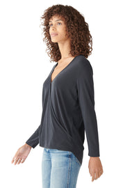 Sandwash Surplice Top in Black