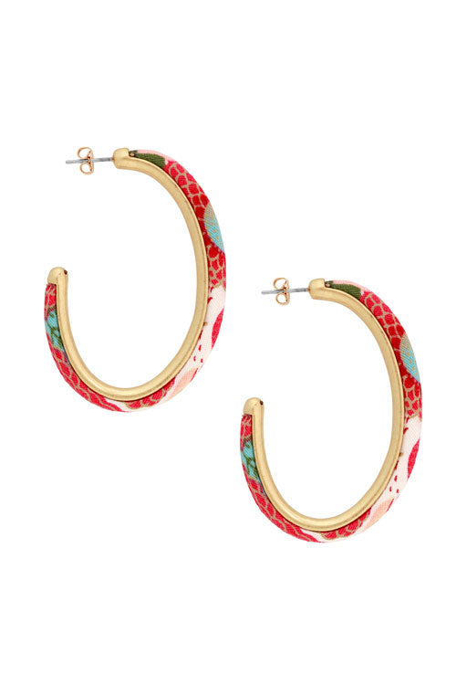 Lucky Brand - Fabric Hoop Earrings in Gold/multi (JLRY9144)
