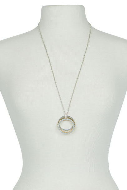 Lucky Brand - Interlocking Scallop Pendant Necklace in Two-tone (JWEL2322)