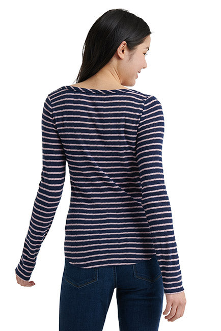 Lucky Brand - Striped Henley in Navy/pink (7W64835)