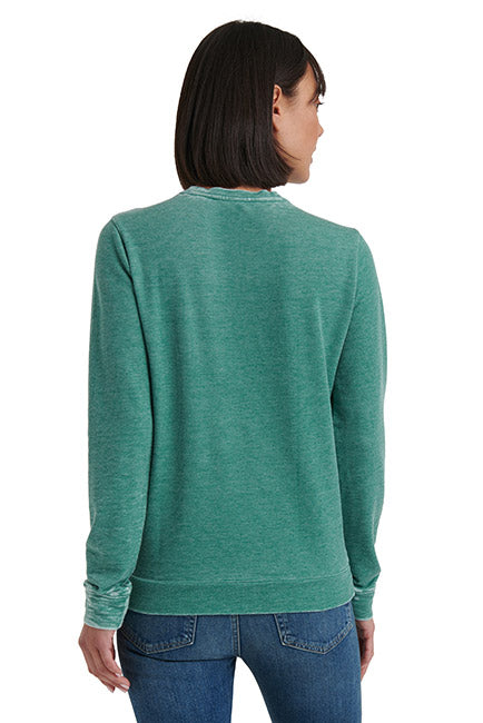 Lucky Brand - Necklace Embroidered Sweatshirt in Green Lake (7W72810)