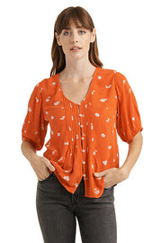 Lucky Brand - Floral Print Pintuck Top in Red/multi (7W45481)