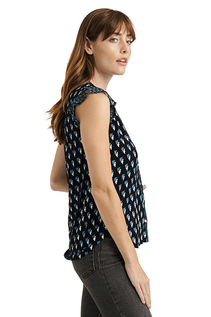 Lucky Brand - Woodblock Print Tank in Black/multi (7W65258)