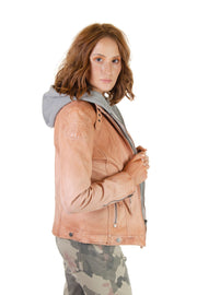 Maritius - Lamb Leather Jacket in Peach (Casha 2 RF)