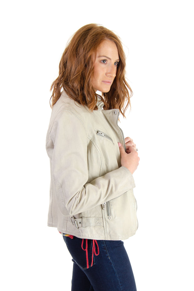 Leather Moto Jacket in Off-white