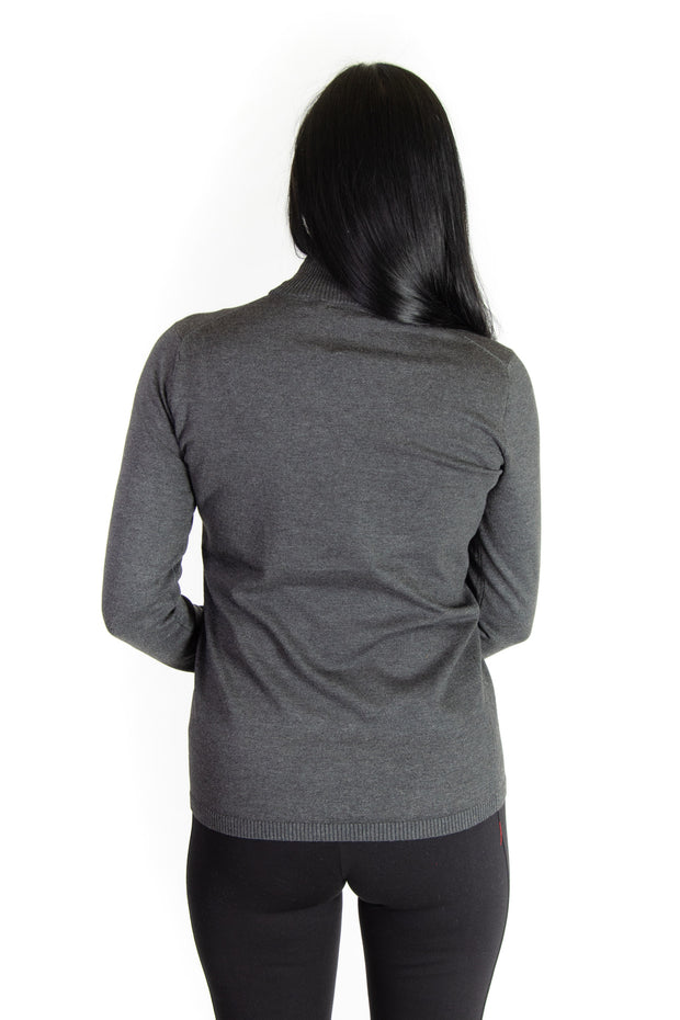 Mock Neck Sweater in Heather Charcoal