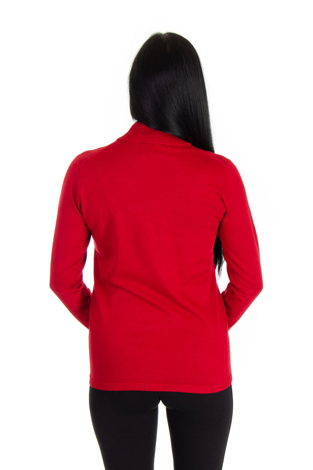 Mock Neck Sweater in Ruby