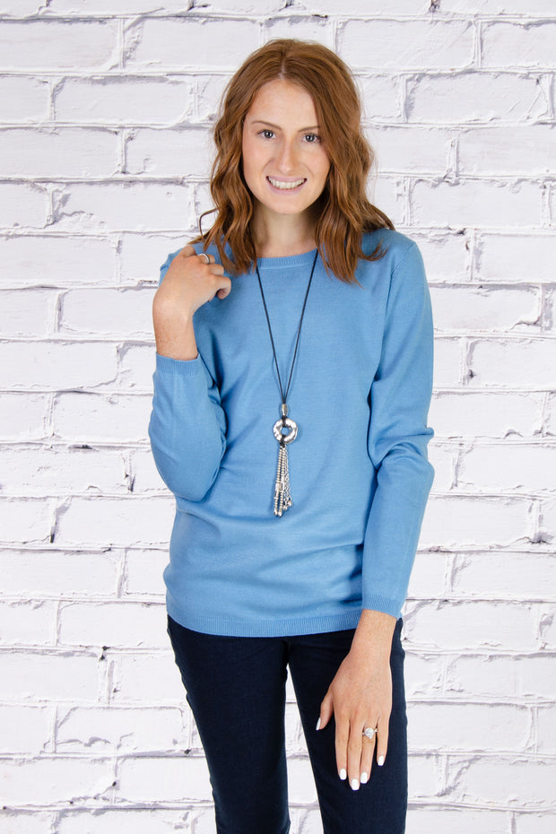 Crew Neck Sweater in Paradise Blue