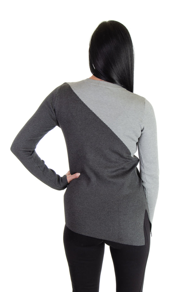 Color Block Sweater in Heather Grey/charcoal