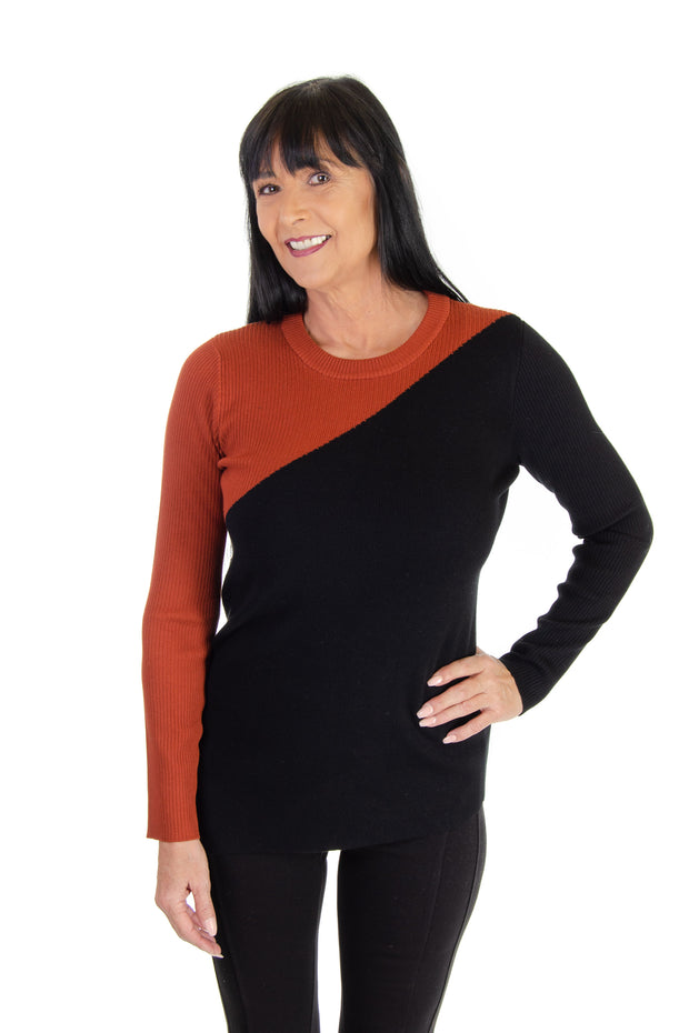 Color Block Sweater in Terracotta/black