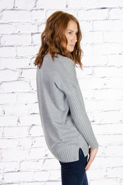 Rib Sleeve V-neck Sweater in Heather Grey