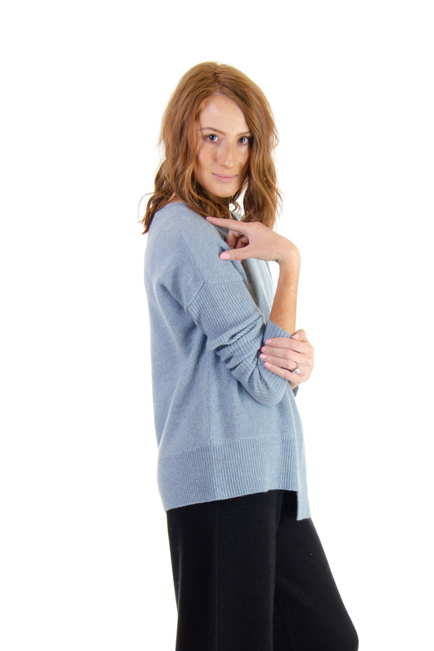 In Cashmere - Mixed Fabric Sweater in Chambray (MFC6002)