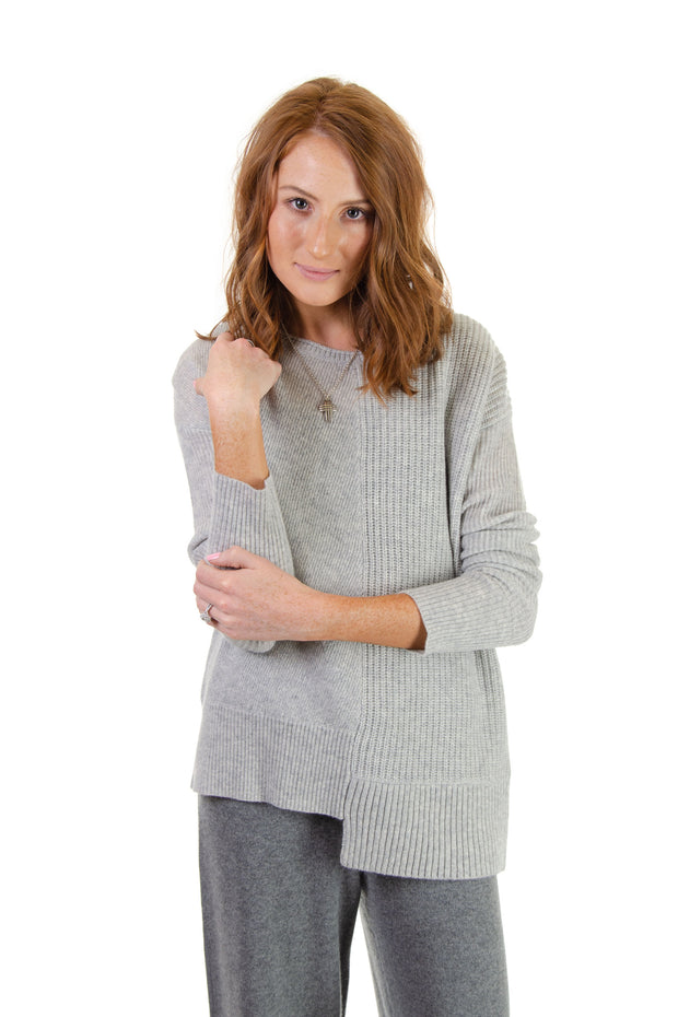 In Cashmere - Mixed Fabric Sweater in Heather Fog (MFC6002)