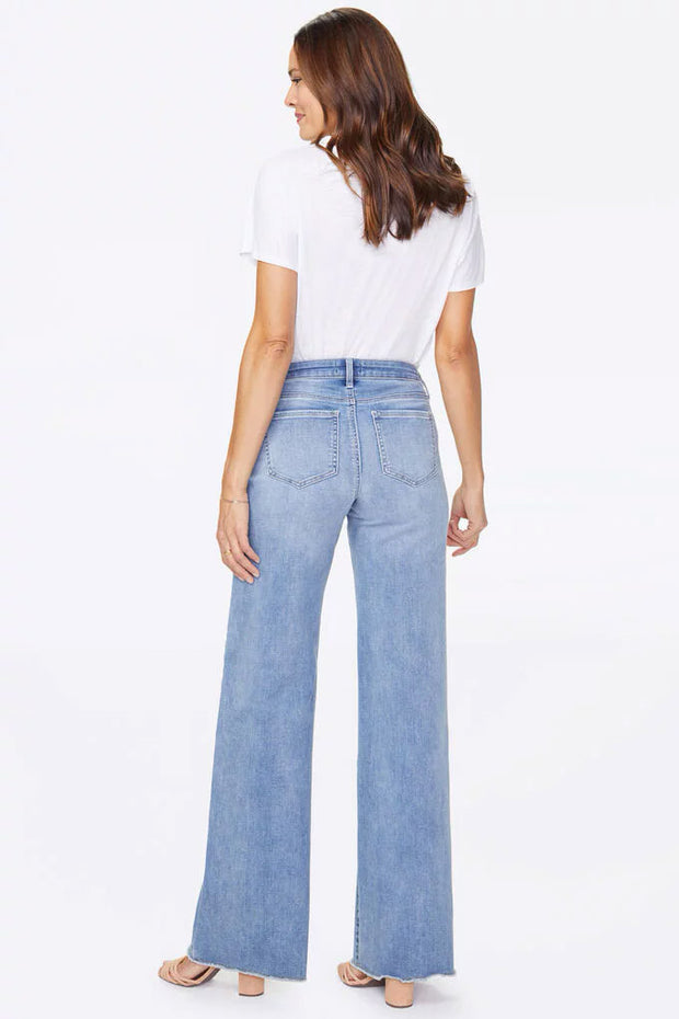 NYDJ - Teresa Wide Leg Fray Hem Trouser in White (MATKKT2853)