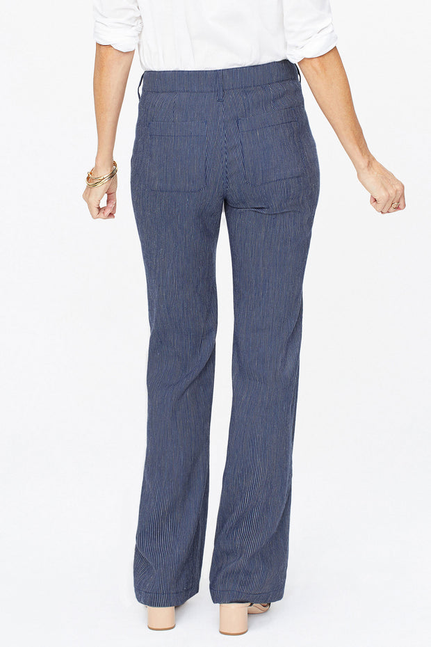 NYDJ - Linen Trouser Pants in Aqua Stripe (MPSD2219)