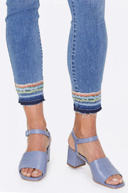 Ami Skinny Ankle Jeans w/ Embroidery