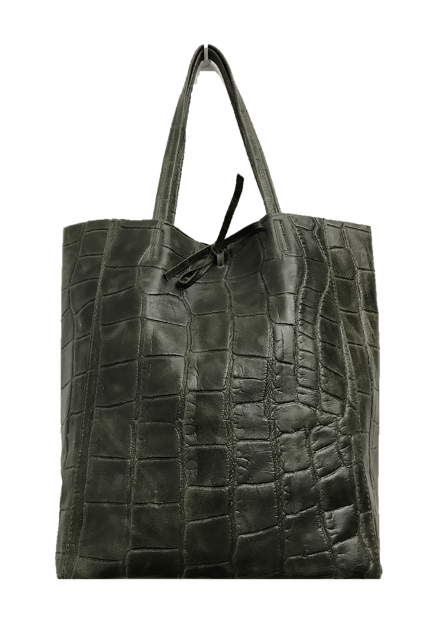 Jijou Capri - Crocodile Basic Leather Tote (Diou) Olive
