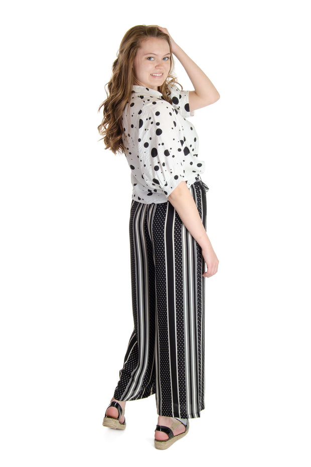 Patrizia Luca - Mixed Print Pull-on Pant in Black/white (LXP8435)