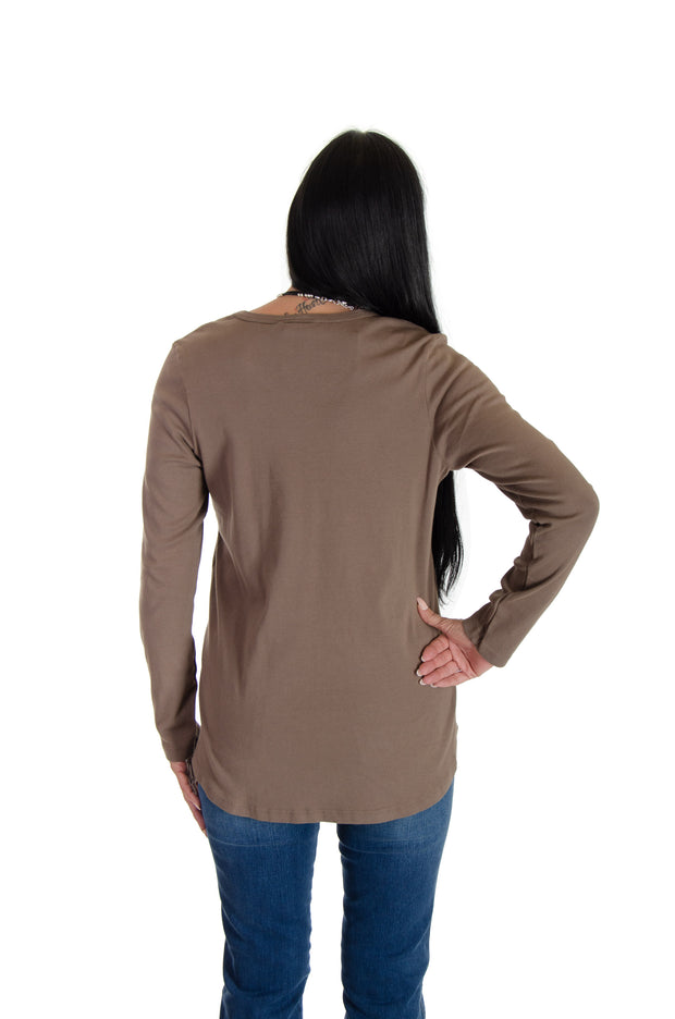 V-neck Shirttail Top in Henna