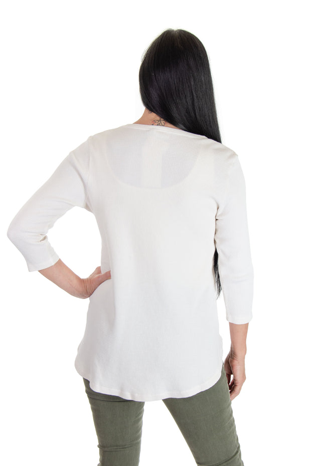 V-neck Waffle Top in Milk