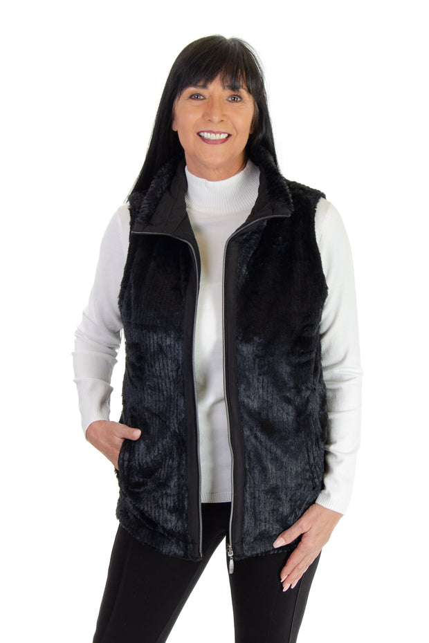 Faux Fur Reversible Vest in Black