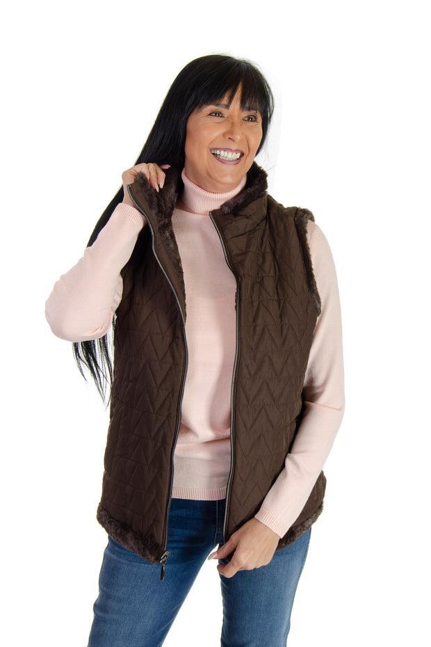 Faux Fur Reversible Vest in Seal Brown