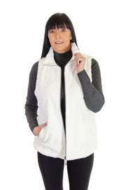 Faux Fur Reversible Vest in Ivory