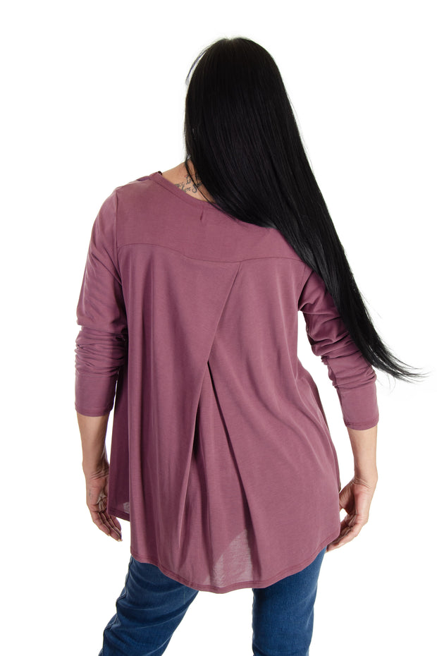 Long-sleeve V-neck in Maroon