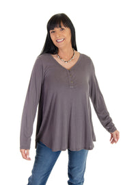 Three-button V-neck in Fudge