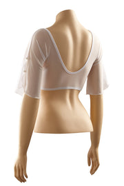 Sleevey Wonders - Flutter 1/2 Sleeve Mesh in White (S20603LWH1)