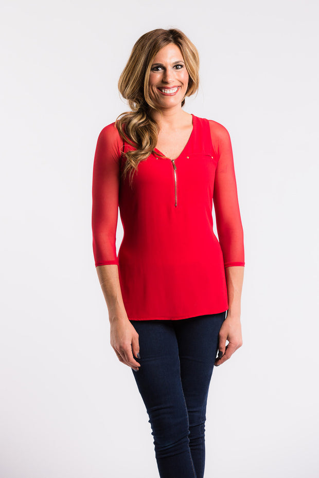 Sleevey Wonders - Basic 3/4 Sleeve Mesh in Red (S30103)