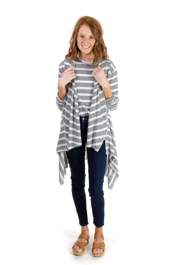 Striped Cardigan w/ Zipper Detail