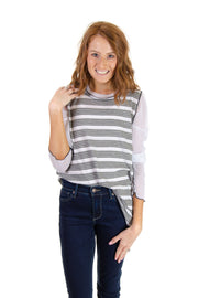 Mixed Media Striped Top