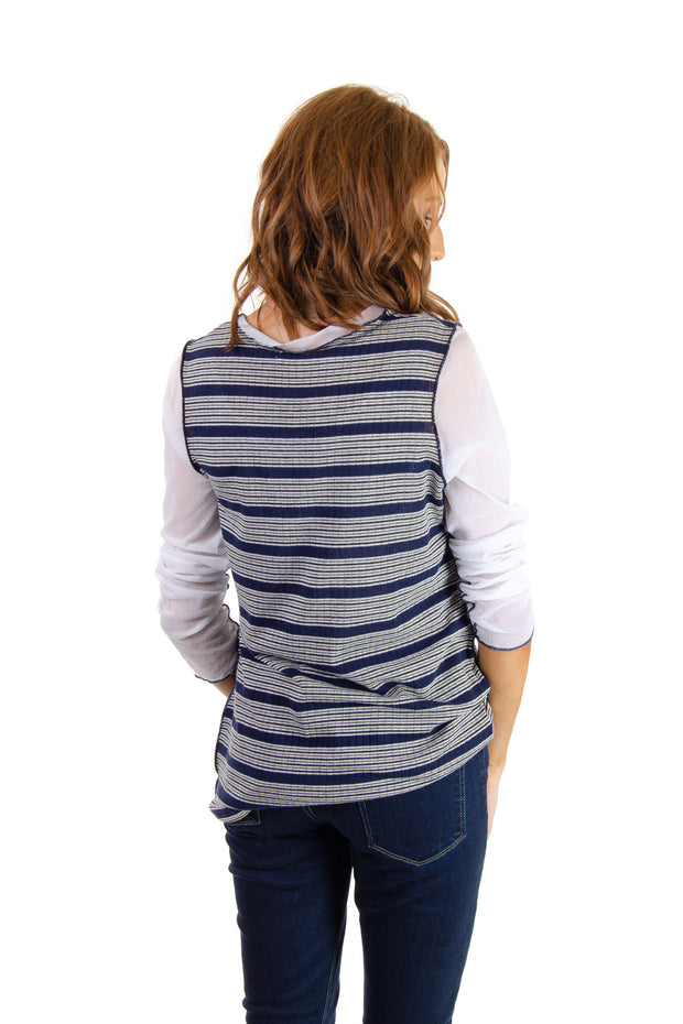 Mixed Media Striped Top in Navy/white