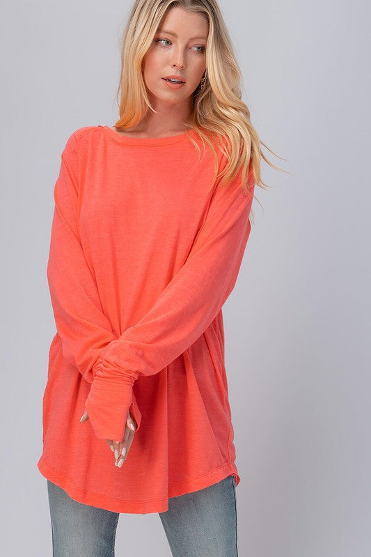 Raw Edge Tunic Coral
