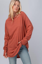 Raw Edge Tunic Marsala