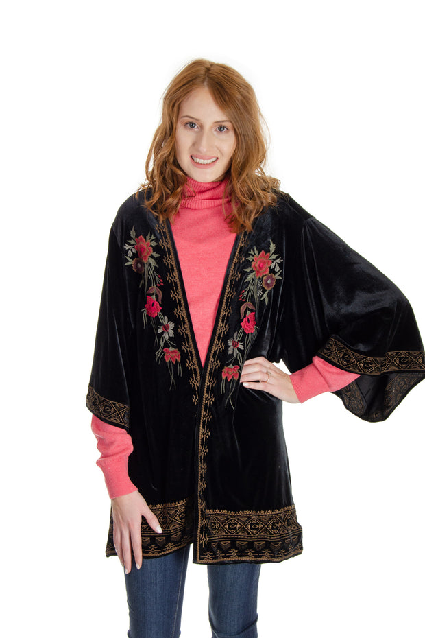 Tribal - Embroidered Velvet Kimono in Black (6461O-1515)