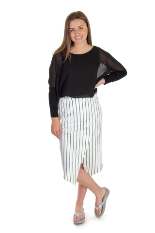 Wash Lab - Striped Asymmetrical Skirt in White/black (1037B-3)